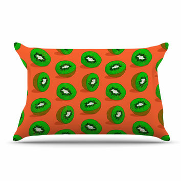 "Evgenia ""Kiwifruit"" Orange Green Pillow Case"