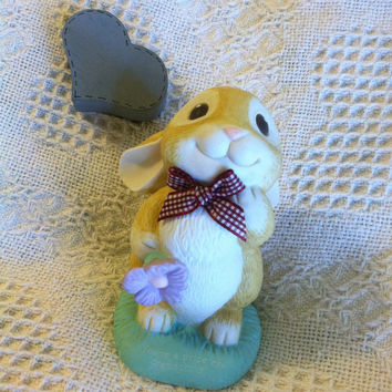 Rabbit Bank Vintage Ceramic Baby Bunny Bank Brown White Blue Bunny Holding Purple Flower New Baby Shower Grandchild Gift Child's Room Decor