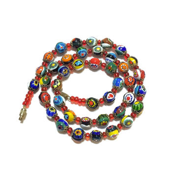 Beaded Necklace, Millefiori Beads, Layering Necklace, Orange Blue Red Green, 1940s, Art Deco Jewelry, Vintage Jewelry