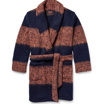 MP Massimo Piombo - Striped Mélange Brushed Knitted Cardigan