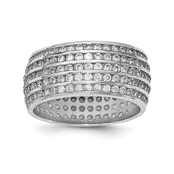 Sterling Silver Rhodium-plated 5-row Eternity Ring