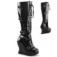 Bravo Spiked Black Wedge Boots - Demonia Gothic Shoes & Boots from ShoeOodles