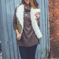 Vienna Faux Suede Vest in Olive