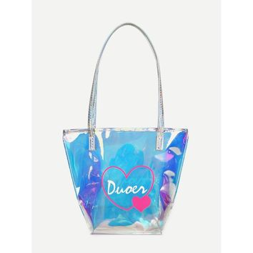 Iridescence Clear Heart Print Tote Bag