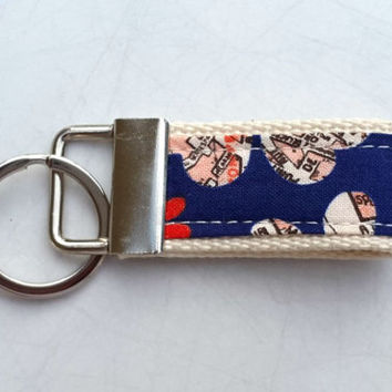 Handmade key ring made with floral fabric and webbing. Fabric key fob. Ideal gift.
