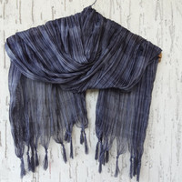 Handwoven infinity scarf, Black,Grey Stıriped Scarves, Natural,Organic Scarf, Fashion accessories, Women Scarves
