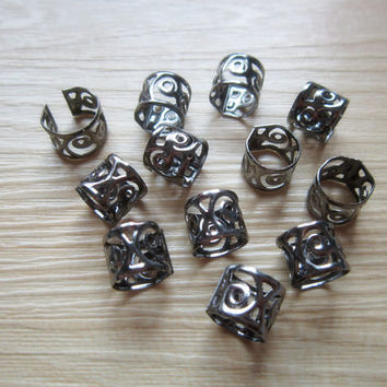 20pcs Gun Black dreadlock Beads dread tube hair braid adjustable cuff clip 9mm hole