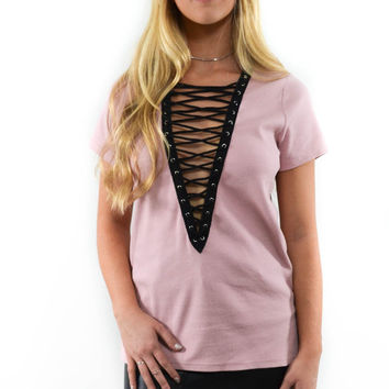 Flaunt It Mauve Ribbed Lace Up Top