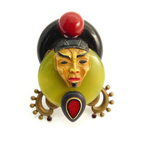 Vintage Mixed Media Asian Man Figural Brooch