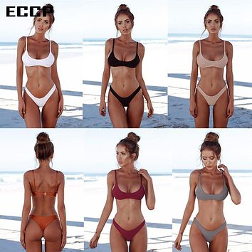ECCP 2018 New Sexy Bikinis Women Swimsuit Summer Beach Wear Push Up Swimwear Female Bikini Set Halter Top Bathing Suits Swim XXL