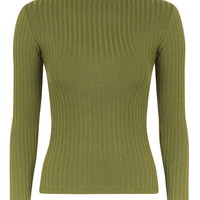 Wide Rib Funnel Neck - Tops - Clothing