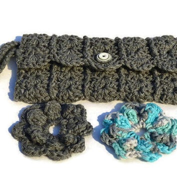 Grey Handmade Crochet Lined Pouch With Removable Flowers And Zipper Cell Phone Clutch Bag Lined Bags & Purses Womens Purse @MystifyGifts