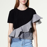 Anna Tulle Overlay Ruffle Top Discover the latest fashion trends online at storets.com