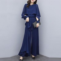 2019 New Summer Fashion Elegant Office Lady Chiffon Wide Leg Pant Suits Two Piece Set Women Cape Blouse And High Waist Pants Set