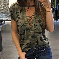 Camo Tie Up T-Shirt