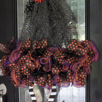 Huge! Halloween Witch Wreath, Halloween Decoration, Door Hanger, Deco Mesh Wreath, Door Decor, Wreath for Door
