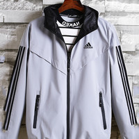 ADIDAS 2019 spring new men's casual sports cardigan hooded jacket white