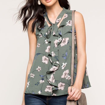 Ruffle Tie Neck Floral Tank