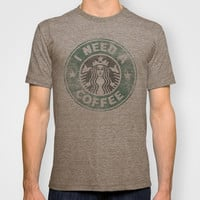 STARBUCKS - I need a coffee! (v2) T-shirt by John Medbury (LAZY J Studios)