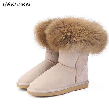 HABUCKN Fashion Women's Natural Real fox Fur Snow Boots 100% Genuine Cow Leather  women Boots Female Warm Winter Boots Shoes