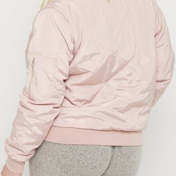 Plus Pink Quilted Bomber Jacket | Plus Bomber Jackets | rue21