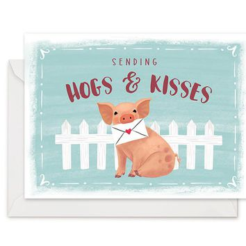 Hogs & Kisses - Greeting Card