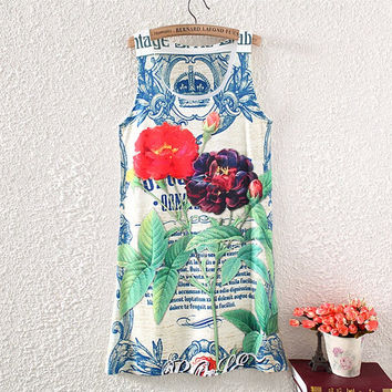 women summer long tank tops 2015 animal  summer tshirts sleeveless tank tops floral printed loosen  white letter tank tops 28