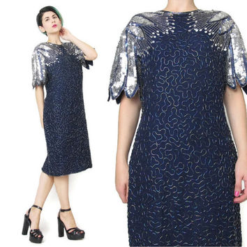 1980s Sequin Dress Navy Blue Silver Sequin Dress Dress Short Sleeve Silk Sequined Dress Cocktail Glam Party Beaded Dress Petal Sleeves (L)