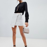 Boohoo Polka Dot Tie Side Skirt at asos.com