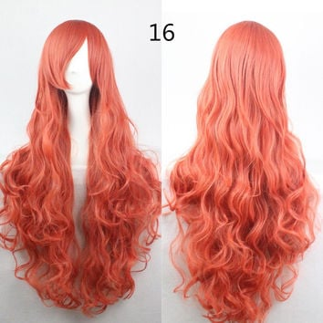 COS Wig Hair Extension woman wigs Hatsune Miku Cosplay Wig long hair wig wigs synthetic hair cap multicolor hair curly wig hair S2312-16