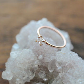 Herkimer 14K Rose Gold Ring. Promise Herkimer Diamond Quartz Ring. April Birthstone. Raw Diamond Quartz Prong Ring in Rose Gold