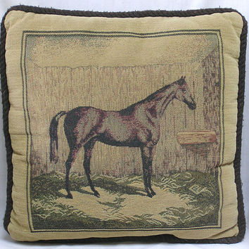 Vintage Decorative Pillow with Horse in Stable Print / Square Pillow Sgades of Brown Equestrian Theme