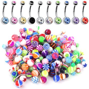 BodyJ4You Belly Button Ring 60 Pieces Lot Double Gem and Mix Piercing Jewelry 14G