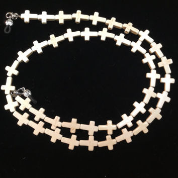 White Cross Eyeglass Chain