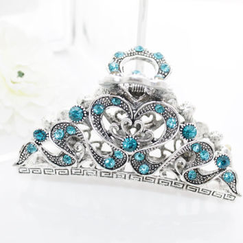 "Xlarge 4"" metal hair clip claw silver Blue rhinestone hair accessories thick hair"