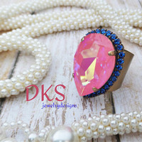Coral Harmony, Swarovski Statement Ring, Pear, 20x30, Sapphire Halo,AB, Matte Bronze, Adjustable, DKSJewelrydesigns, FREE SHIPPING