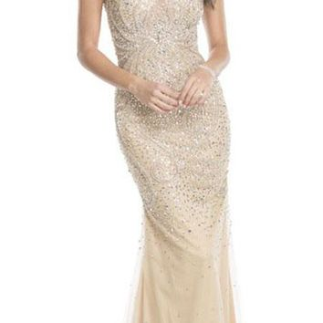 Champagne Rhinestone Embellished Evening Gown V-Neck