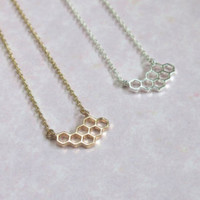 Dainty Honey Comb Necklace Gold