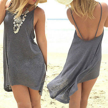 New Sexy Beach Dress  Summer Style Casual Irregular Spaghetti Strap Backless Dress Loose Club Wear Casual  Grey Dresses