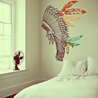 Boho Chief Warrior Inspired Headdress Decor - Full of Feathers - Vintage Surf Culture Artwork - Wall Decals by 3rdaveshore