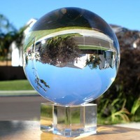 Crystal Meditation Ball Globe 80 Mm, Clear, Free Stand
