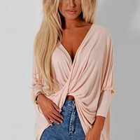 Amerezy Light Pink Cross Over Top | Pink Boutique