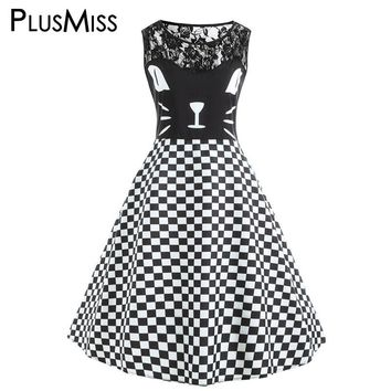 PlusMiss Plus Size 5XL Kitten Pattern Checked Vintage Retro Swing Dress Sexy Lace Crochet Black and White Plaid Tank Dress Party