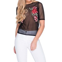 Women Sexy Mesh Tops Embroidery Blouse 2017 Summer Ladies Office Shirt Transparent Sheer Tee Shirt Femme Korean Fashion Blusas