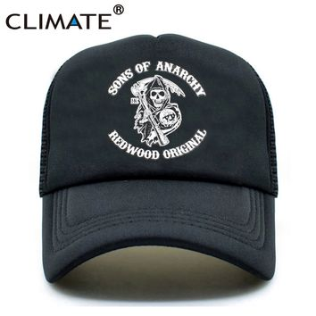 CLIMATE Men Cool Trucker Cap Sons of Anarchy Redwood Death Cool Mesh Caps Jax Teller Summer Baseball Net Trucker Cap Hat For Men