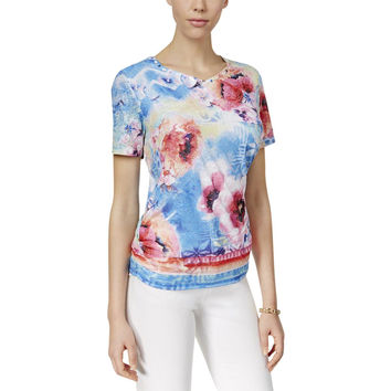 Alfred Dunner Womens Tropical Punch Watercolor Lace Blouse