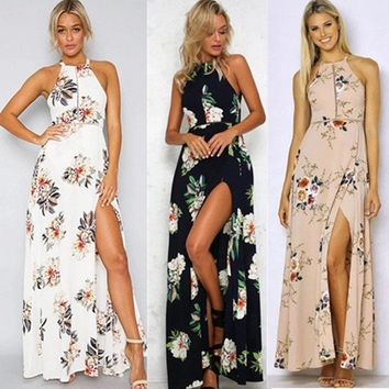 Lady Chiffon Boho Floral Print Maxi Dresses European Female Elegant Halter Sexy Print Backless Floor Length Summer Dresses