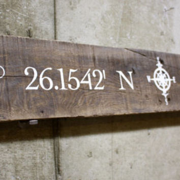 Wood Pallet Slat Sign - custom latitude longitude compass sign. Housewarming, wedding gift....