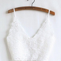 FREE SHIPPING Lace bralette top in black or white. Black and white bikini top. Yoga clothe top. Black lace tank top