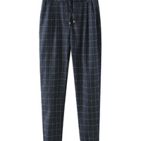 Drawstring Patchwork Plaid Pattern Pants